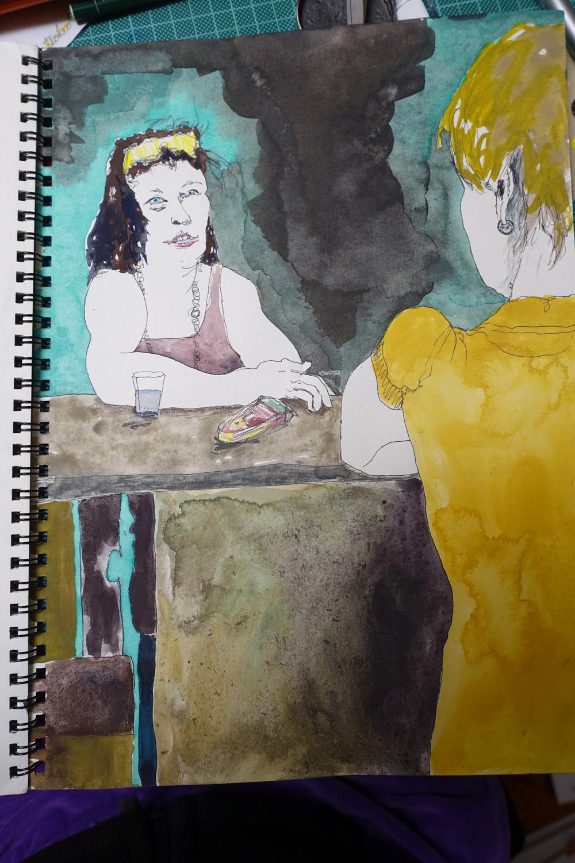 Claudia-zeichnet-Moni-und-Sandra_im-Café-am See_web
